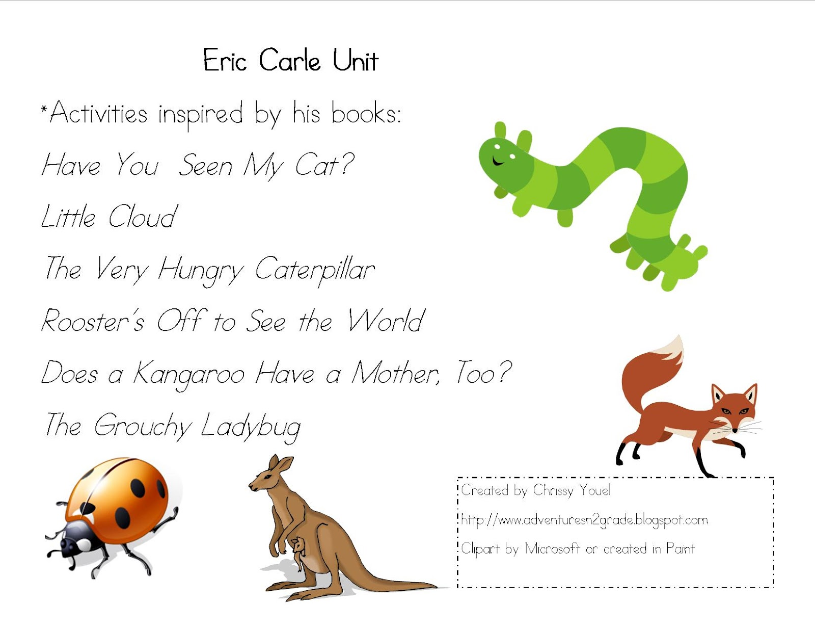 eric carle essays This lesson plan introduces teachers and parents to eric carle and his children's  books about nature suggestions for teaching observation and prediction, story.