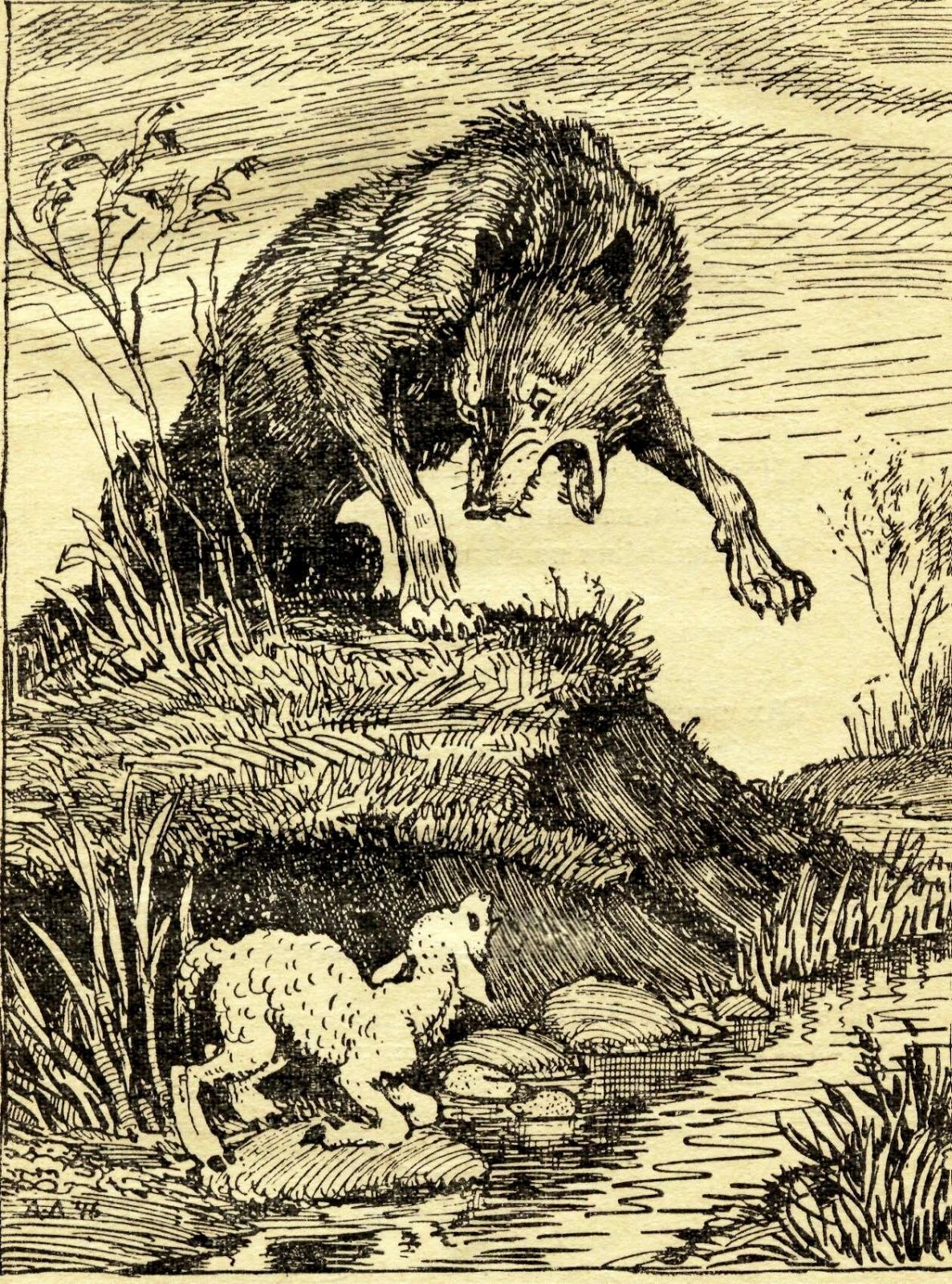 Басня волк и ягненок раскраска