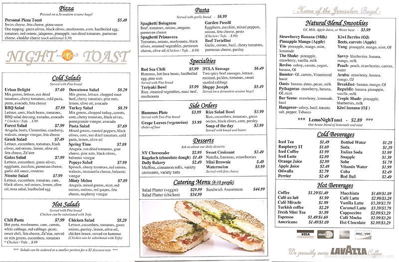 Toast Cafe Menu Los Angeles