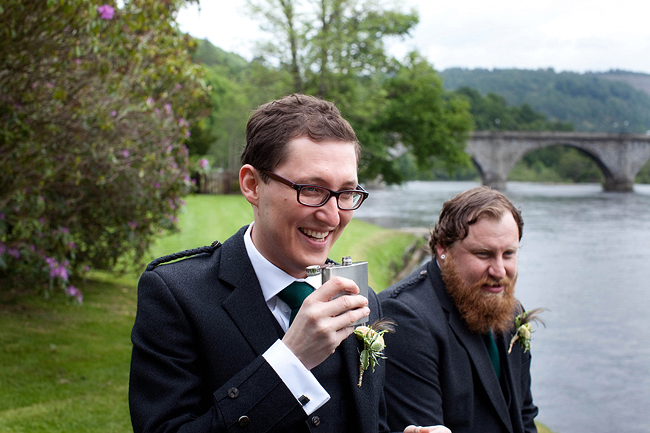 {Lillian and Leonard Wedding Photography} groomsmen in tweed with hip flask