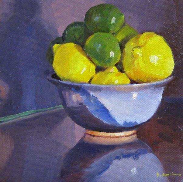 "Sedwick Studio Purple Bowl Of Plums Fruit Bowl Still: Sedwick Studio: ""Lemons And Limes"" Fruit Bowl Still Life"