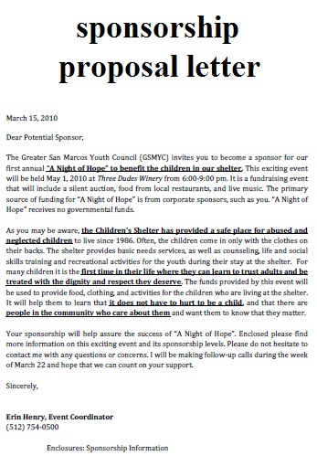 sponsorship proposal cover letter. Resume Example. Resume CV Cover Letter