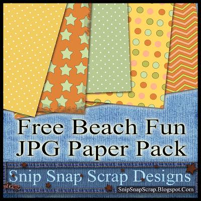 "Free ""Beach Fun"" Digital Scrapbook Paper Pack"