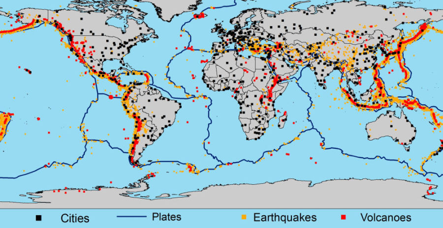 The churning inside the earth the plate boundaries the line of a simplified map with plate boundaries earthquake volcanoes larger cities with more than one million inhabitants modified after usgs 2005 gumiabroncs Choice Image