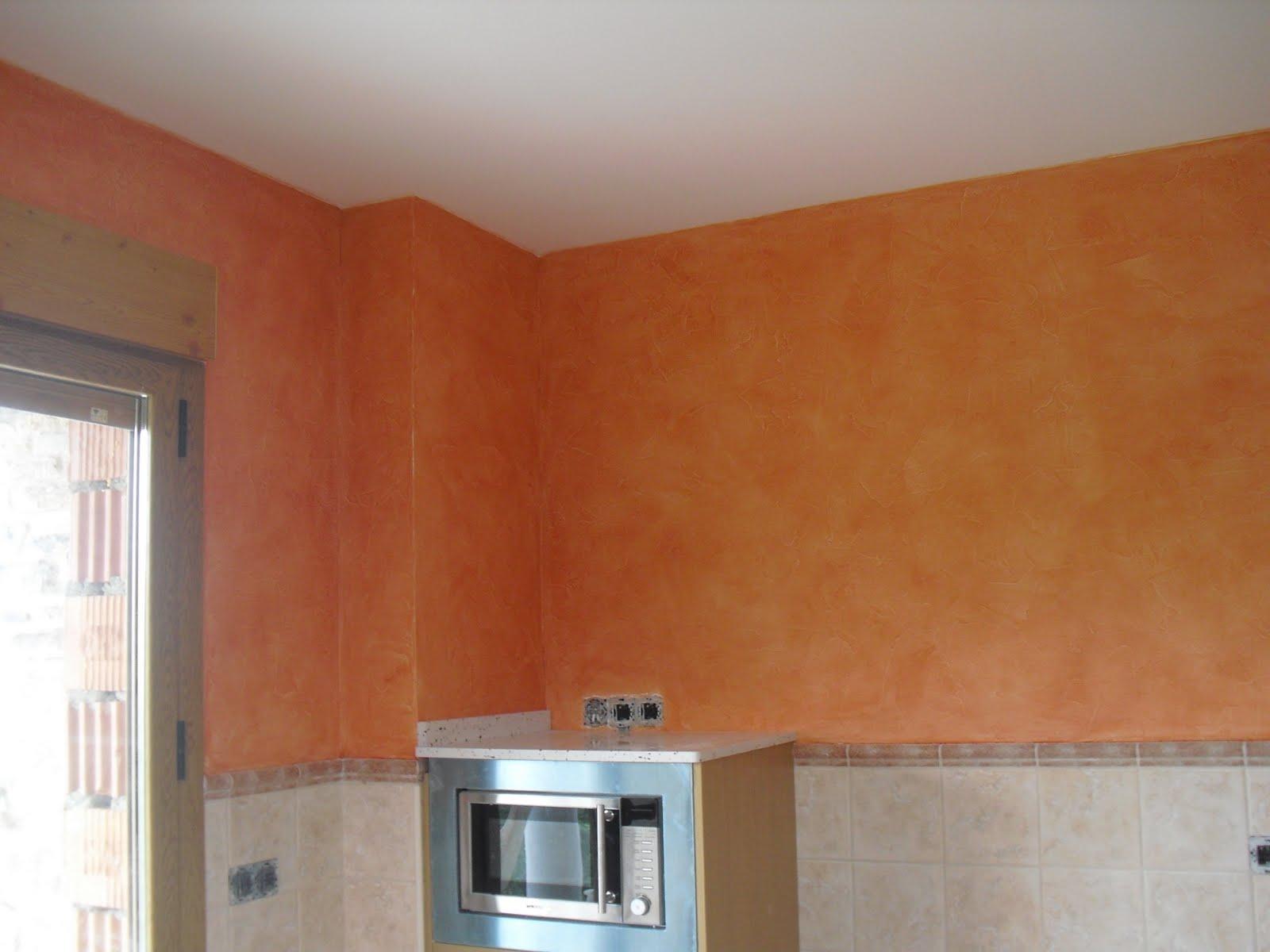 Brochas2009 efecto rustico color naranja en pared de cocina - Pintura naranja pared ...