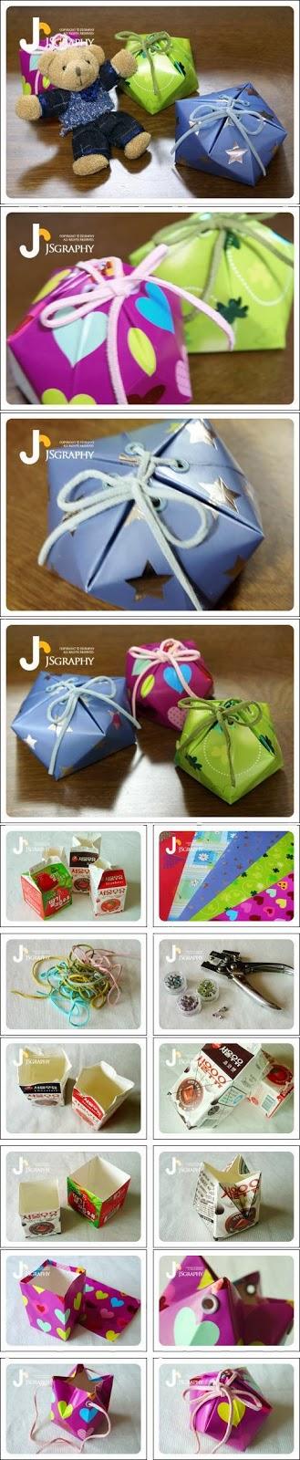 Reciclatex Idea para hacer cajas de regalos con briks de leche