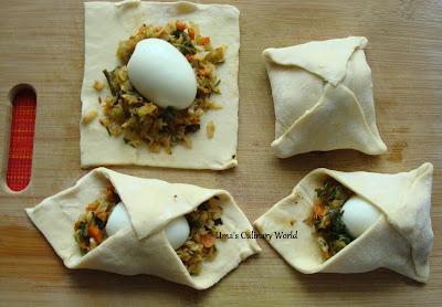 stuffing egg veggie puffs