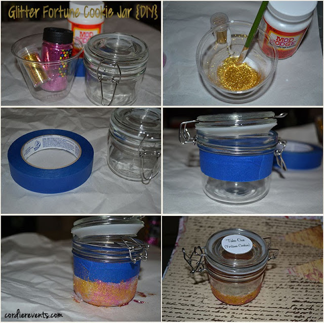 6 step glitter mini jar step by step | Cordier Event Planning