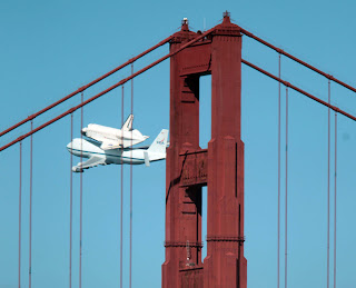 Shuttle Endeavor above Golden Gate Bridge