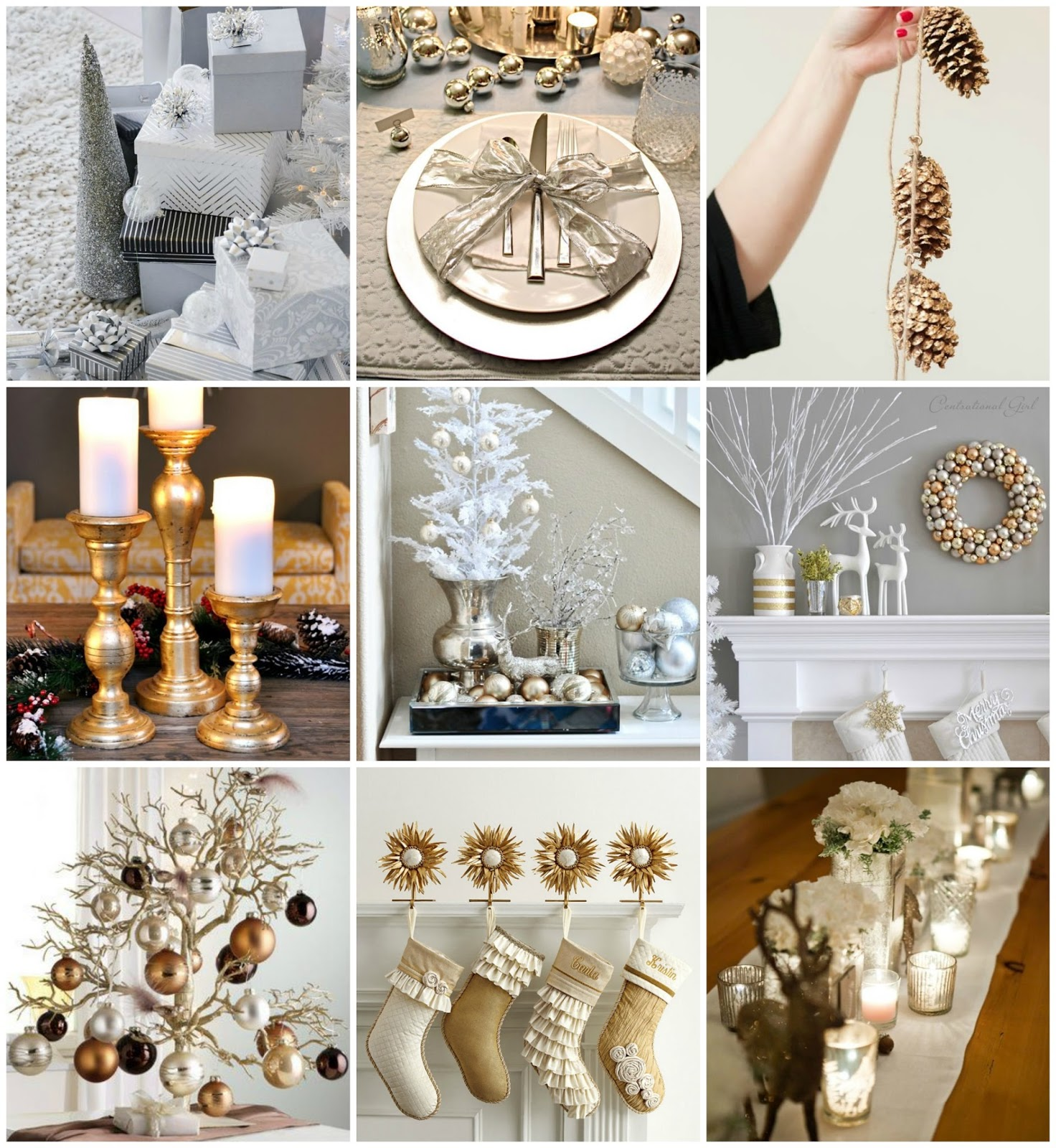 ways to use metallic decor for the holidays - christmas