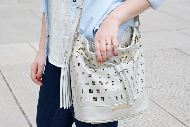 cheap bucket bag grey beige