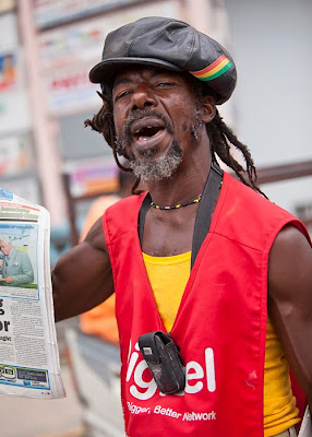 Jamaican newspaper vendor