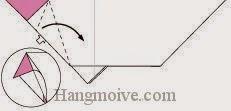 Bước 8: Từ vị trí mũi tên, mở lớp giấy trên cùng ra, kéo và gấp lớp giấy về phía bên phải.