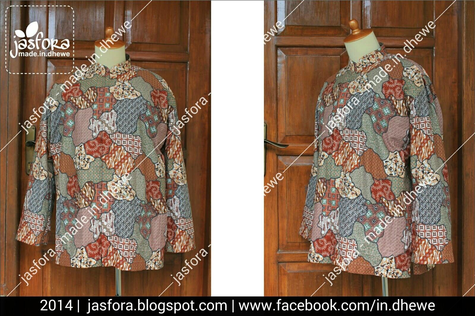 koko kemeja sarimbit dari bahan batik motif print