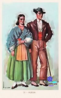 Traje típico de Huelva - Editorial Artigas 1940 - Diseño: Tuser