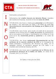 C.T.A. INFORMA CRÉDITO HORARIO ANTONIO PÉREZ, JUNIO 2018