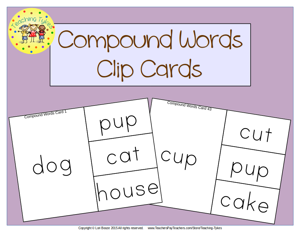 https://www.teacherspayteachers.com/Product/Compound-Words-Clip-Cards-1833645