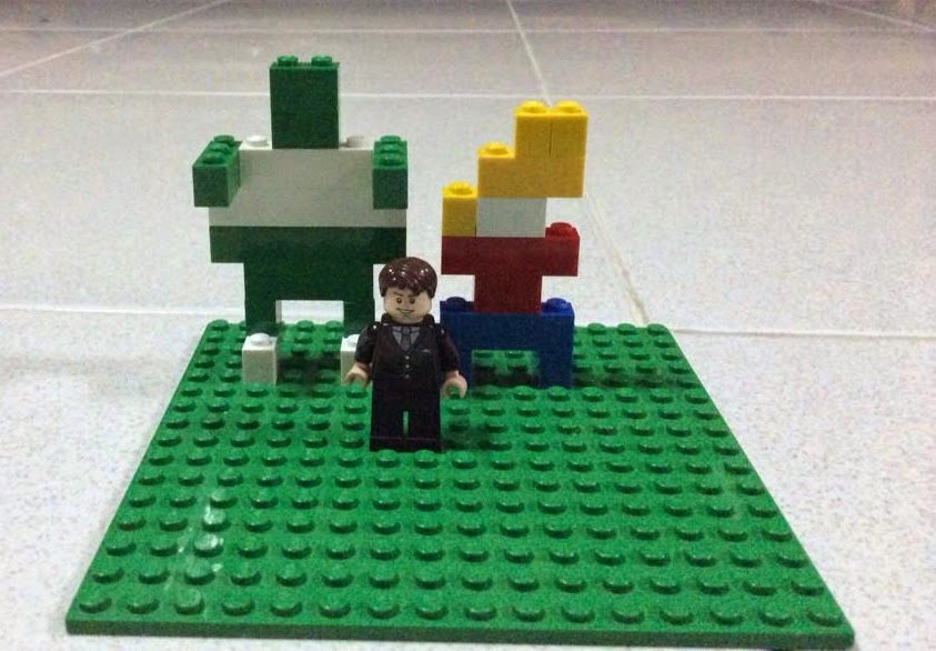 Cosmoe and Humphree from Galactic Hot Dogs, plus author Max Brallier -- in LEGO form!