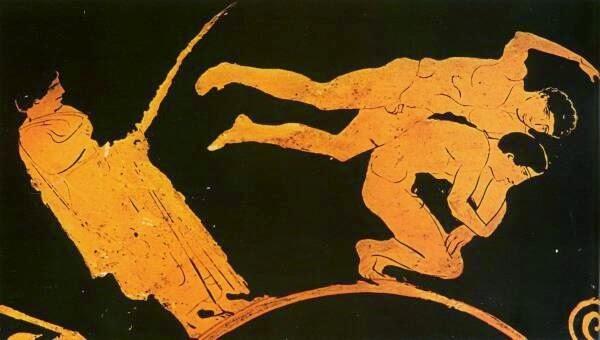 Birkózok egy ókori vázán ábrázolva
