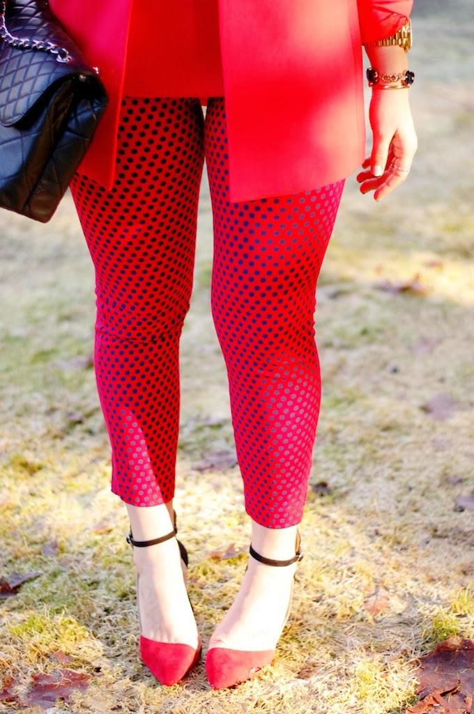 Red Old Navy Diva pants and Zara heels