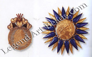 A pave diamond antique coin brooch surmounted with gold and ruby plumage; and a Greek coin sunburst brooch with blue and yellow enamel.
