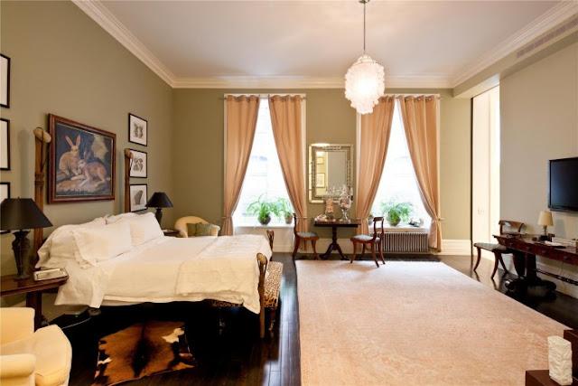 Photo of luxury bedroom interiors in the Tribeca triplex