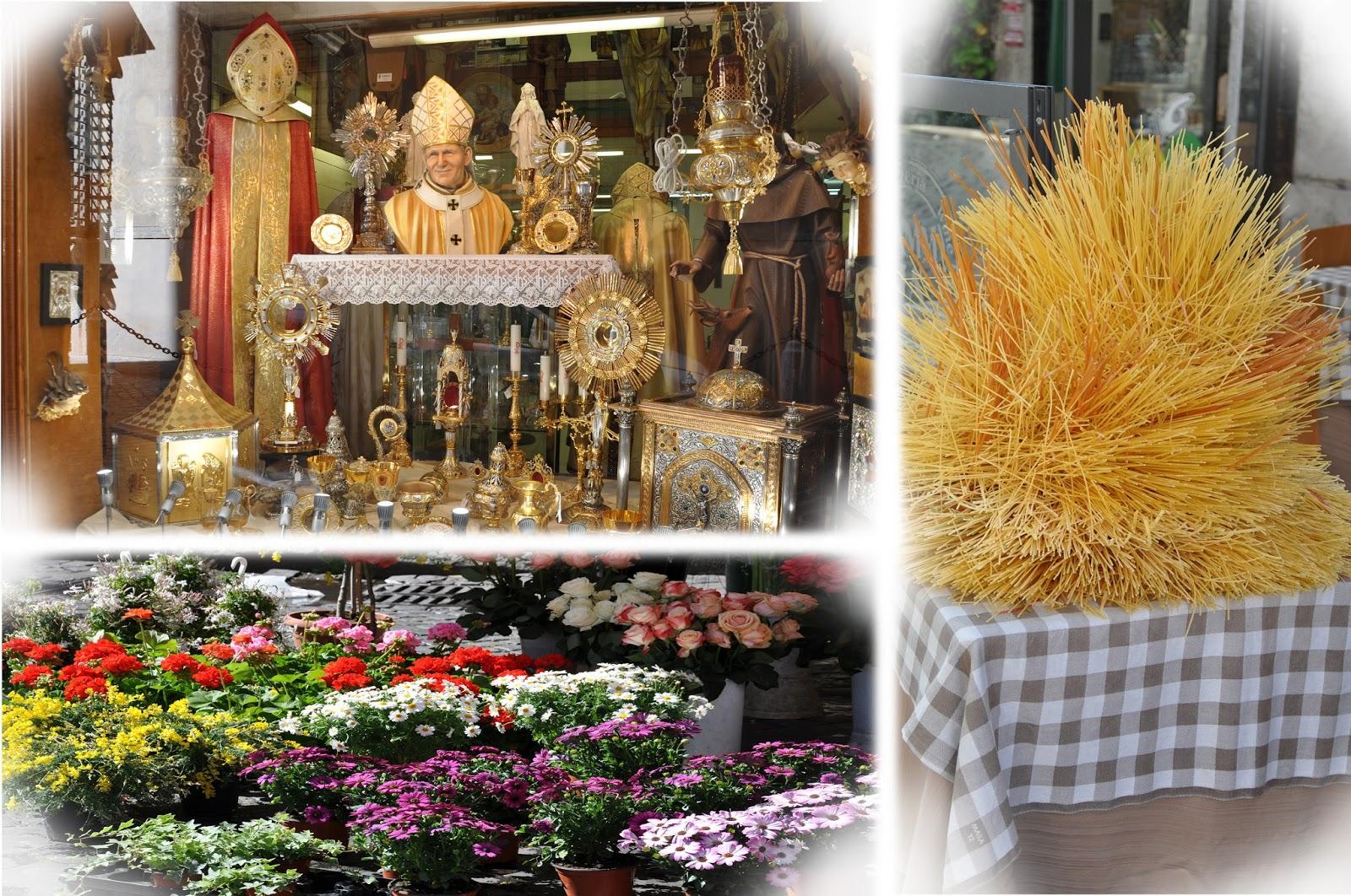 витрина магазина+цветы на площади+спагетти
