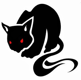 Cat black tattoo stencil