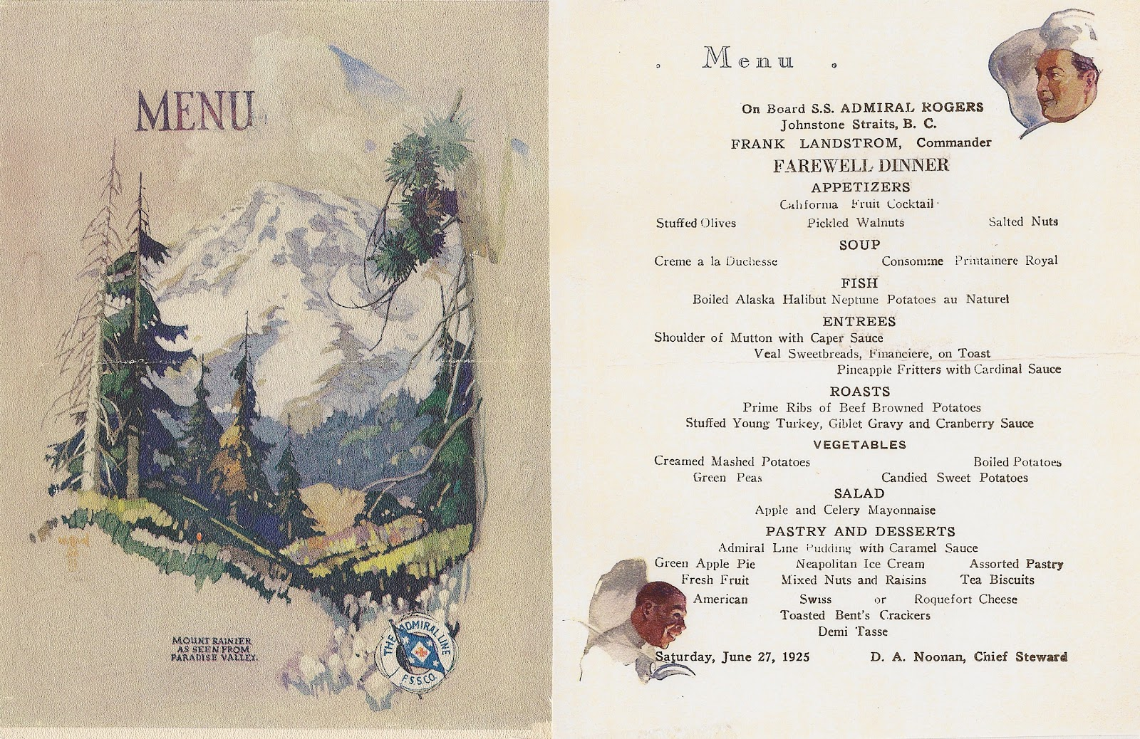Menu from the ADMIRAL ROGERS with Captain Landstrom 1925.