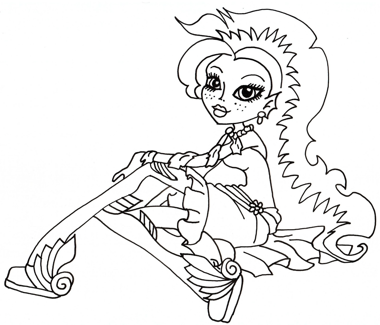 free printable monster high coloring pages lagoona dawn