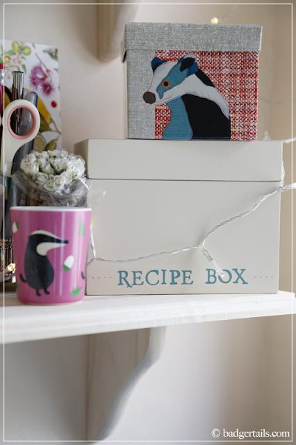 Magpie Badger Box atop Recipe Box