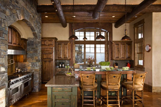 kitchen design Luxury Rustic Interior Design for Lakeview Residence Decoração rústica