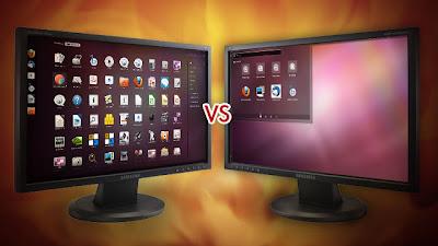 GNOME Shell vs. Unity - imagem ilustrativa