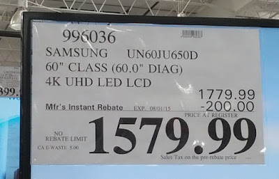 Deal for the Samsung UN60JU650D 60in LED LCD UHD TV at Costco