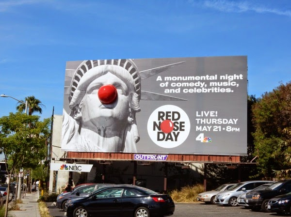 Special Statue of Liberty Red Nose Day billboard