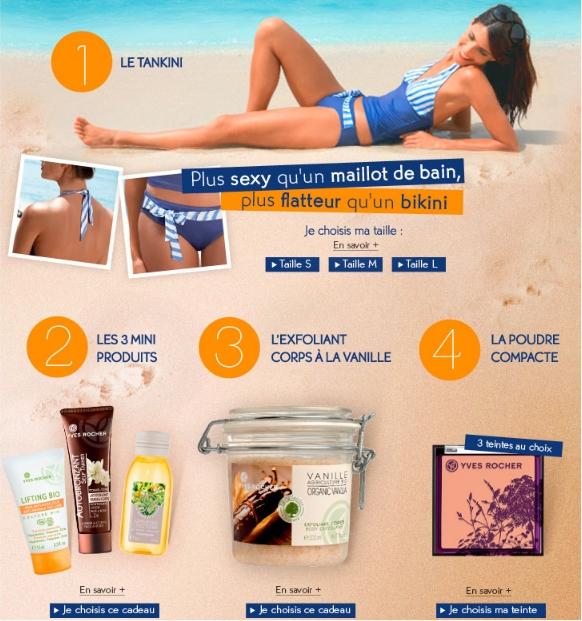 Les nouveaux cadeaux Yves Rocher: maillot de bain gratuit ou produits de beauté gratuits Bon plan Yves Rocher - Promo Yves Rocher