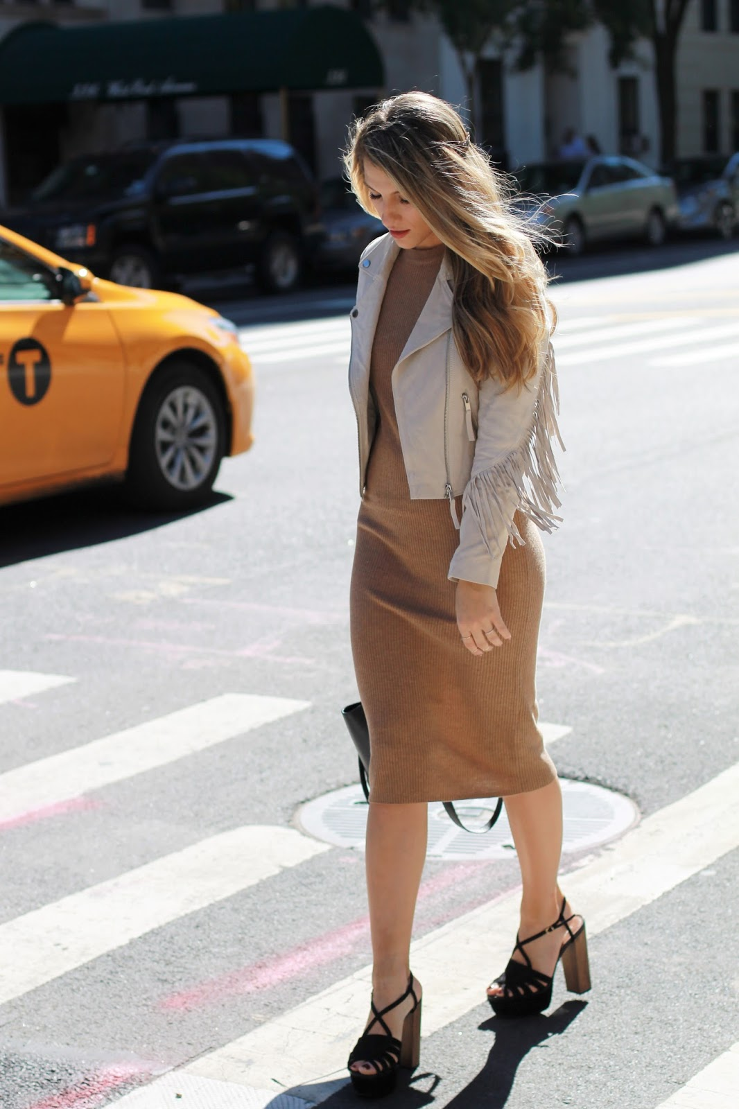 camel ribbed knit midi dress