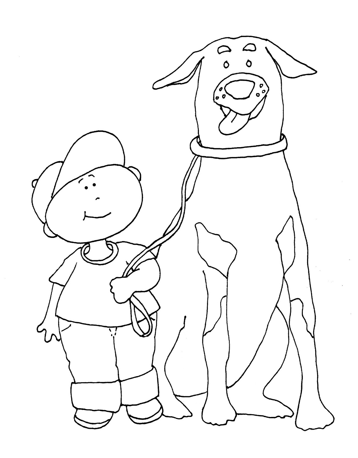 a boy and his dog coloring pages - photo #26