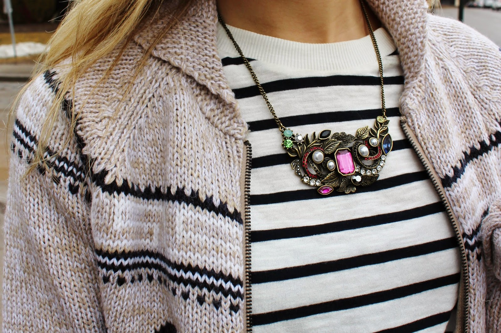 bijuleni,streetstyle,Zara,winter shorts, cardigan, winnersfabfind, stripe,fashion blogger, Calvin Klein, Accessorize, necklace