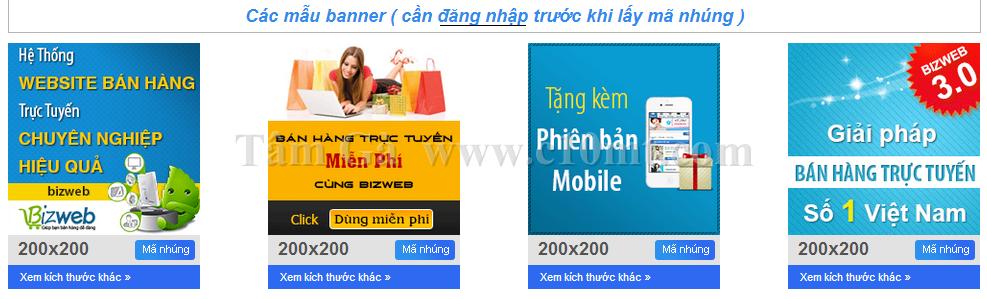 các mẫu banner quảng cáo của bizweb