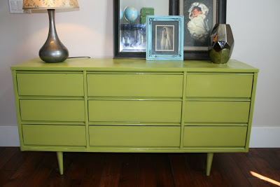 Erika At Retropolitan Painted Her Mid Century Modern Dresser With The Brightest Spray Paint She Could Find But Then Tired Of It And Gave This Makeover