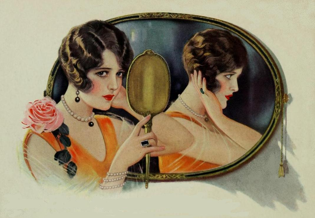 Pretty Women and their mirrors in fine art to magazine illustrations