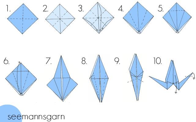 Origami Kraniche Anleitung Seemannsgarn Handmade