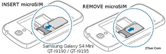 Samsung Galaxy S4 Mini GT-I9190 GT-I9195 Insert Install Remove microSIM Card