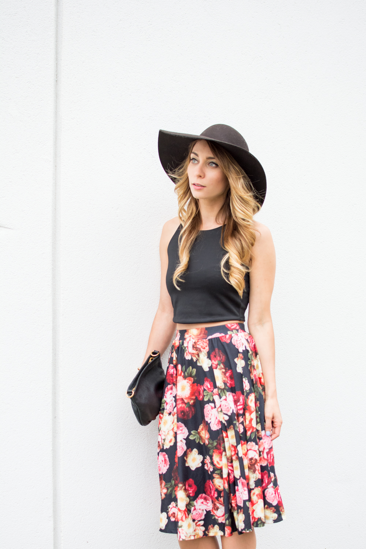 floral midi skirt styled for summer