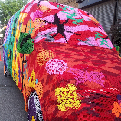 yarn bombed van bobbins and bombshells