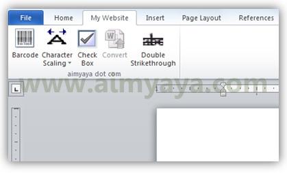 Gambar: Contoh tab ribbon baru buatan sendiri di Microsoft Word 2010
