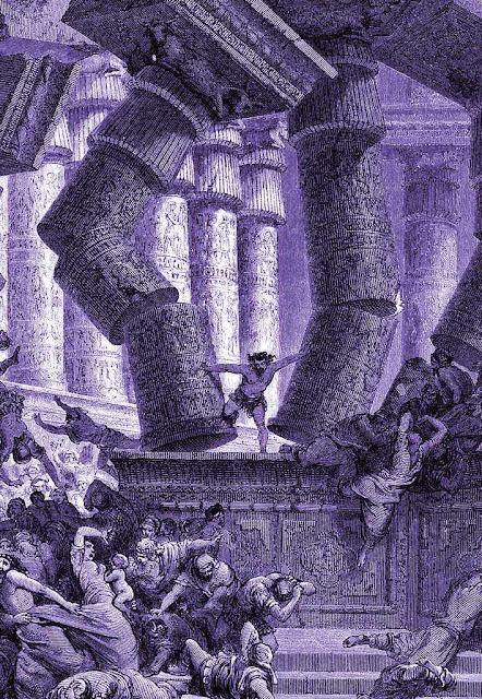 Sansão derruba o templo dos filisteus. Gravura de Gustave Doré, séc. XIX.