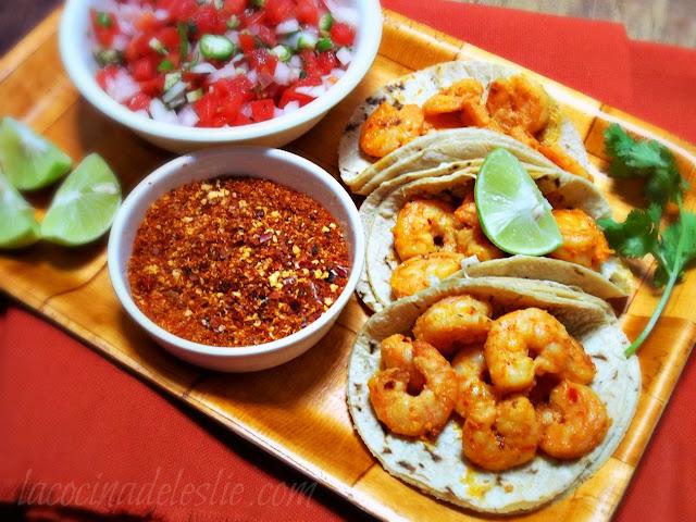Spicy Shrimp Tacos w/ Tequila, Lime & Chile de Arbol - lacocinadeleslie.com