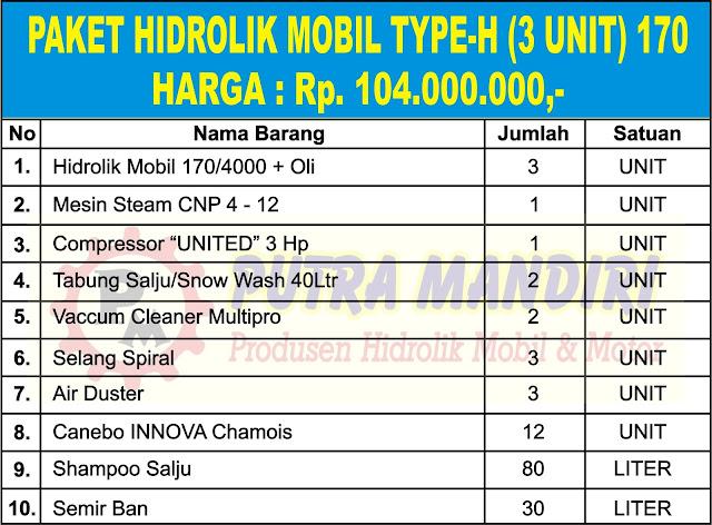 PAKET HIDROLIK MOBIL TYPE-H (3 UNIT) 170